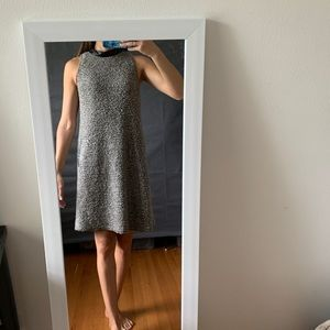Knitted gray dress with black pleather lining